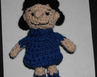 "Handmade Crocheted Amigurumi Peanuts Lucy  5"" Tall by The Knitting Gnome.. Cute"