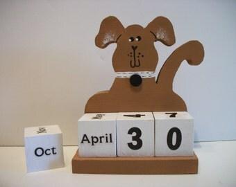 Dog Calendar Perpetual  Wood Block Brown