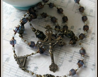 Vintage Style Rosary, Blue Rosary in Czech Cathedral Beads, Bronze Rosary, Beaded Rosary, Handmade Rosary for Women, Catholic Rosary