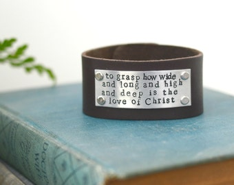 Leather Cuff, Bracelet, Love Of Christ, Engraved Jewelry, Handstamped