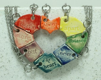 Friendship jewelry Heart puzzle pendants set of 8 Always together quote Rainbow