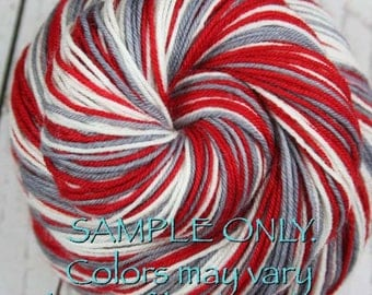 "Dyed to Order: Self-striping Sock Yarn - ""RED-GRAY-WHITE"" - Sports inspired - Hand dyed - Sports Team / School colors yarn - Alabama, Ohio"