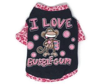 Monkey Bubblegum Dog Tee, size Small, Pink Leopard Print