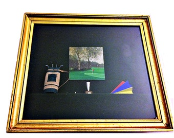 Vintage Handmade Golf Shadow Box with Picture Frame - Golf Memorabilia Display Case- France 1970s