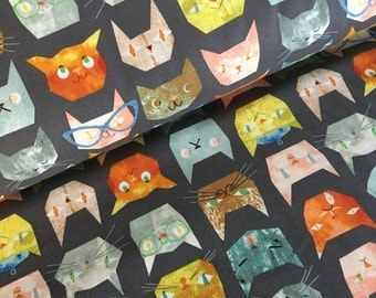 Smarty Cats by Maria Carluccio for Windham Fabrics Cat Faces in grey