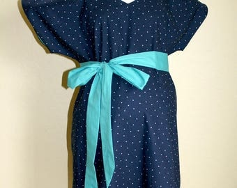 Ashley Maternity Hospital Gown - White Pin Dots on Navy - Lined in Your Choice of Colors - Delivery Gown to Welcome Baby - By Mommy Moxie