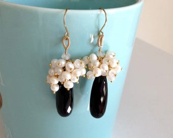 Ashira Elegant Elongated Faceted Black Spinel Capped with a Cluster of Sparkly Moonstone and Fresh Water Pearls