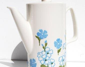 VTG Coffee Pot, Retro Mid Century Modern, Ceramic Danish White Blue Green Flower