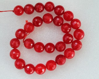 Beautiful Red Jade Faceted Round Beads 14mm