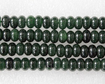 Beautiful Moss Green Jade Smooth Rondelle Beads 8x5mm, 15 Inch Strand