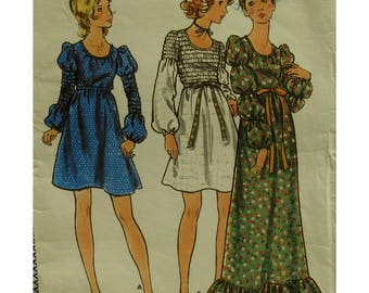 "Elasticized Bodice Dress Pattern, Scoop Neck, Mutton Sleeves, Raised Waist, Peasant Dress, Long/Short, Butterick No. 6490 Size 7/8 Bust 29"""