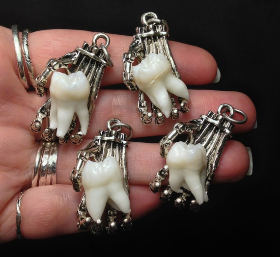 SILVER OPTION - Tooth Fairy Series: Real Human Molar in Brass Biomechanical Hand Pendant Necklace