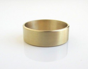 Solid Brass Band / Gold Ring - Slight Brushed Texture, Wide & Thick - Size 10