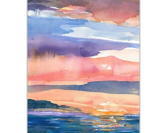 Original Watercolor Painting Abstract Watercolor Sunset Sky Landscape Water Reflections Blue Orange Gold Crimson Wall Art