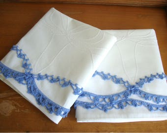 Vintage Pair of Wedding Bell Pillowcases w/ Hand Crocheted Trim Lovely!