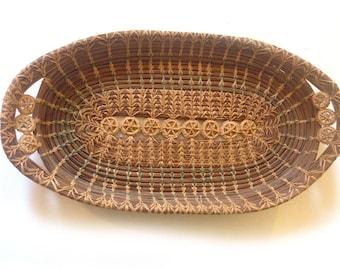 antique pine needle basket with crochet elements