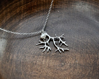 Silver Tree Necklace - Silver Necklace, Tree Branch Necklace, Minimal Necklace, Simple Necklace, Winter Necklace, Nature Inspired Jewelry