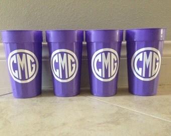 Monogram Stadium Cups - SET OF FOUR - Plastic Cups Personalized
