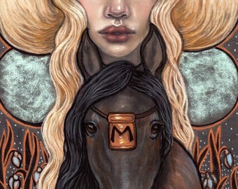Ehwaz Norse Rune Maiden horse Original Soft pastel painting by Tammy Mae Moon
