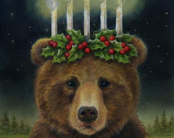 Bear Print, Bear Portrait, Bear Art, Christmas Bear, Saint Lucy, Grizzly Bear, Brown Bear