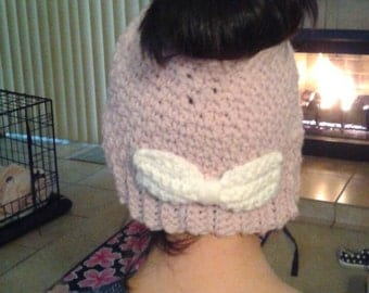 Messy Bun Beanie Pink with Bow