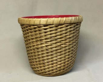 Hand Woven Planter Basket with Wood Base, Twill Weave.  Includes Plastic Plant Container