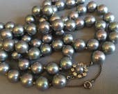 Vintage Grey Pearl Necklace long gray pearls hand knotted with rhinestone clasp classic elegant jewelry gift mother of the bride