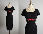 50's Cocktail Dress // Vintage 1950's Black Fringe Cocktail Party Wiggle Dress S