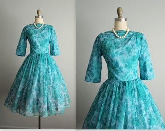 50's Floral Chiffon Dress // Vintage 1950's Teal Blue Floral Chiffon Garden Party Cocktail Dress S