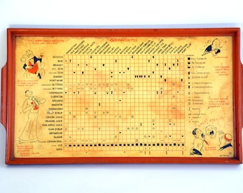 Vintage Cocktail Recipe Drinks Tray: Mixed Drinks & Hors D'ouvres Serving Platter / Wall Hanging with Funny, Boozy, Prohibition Era Fashion