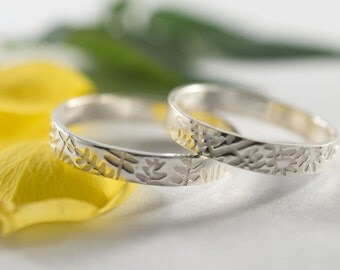 Her and Hers Botanical Wedding Band: A pair of  sterling silver textured wedding bands