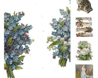 Dresden German Die Cut Digital Download 5 files Flowers Victorian Images