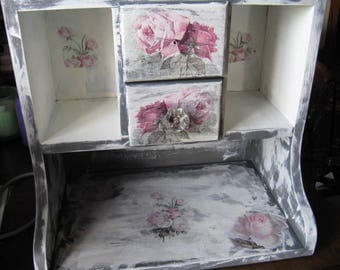 Vitnage Desk Organizer Hutch Romantic Aged Nordic French Cottage Chic Gray White Roses
