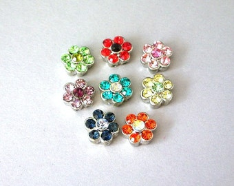 8 multicolor daisy TINY 2 hole slider beads with crystal, 10mm, flower