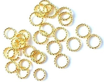 48 fancy gold plated open jumpring mix, 6mm, 8mm and 10mm