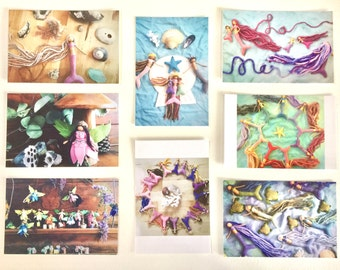 Merfolk and Fairy Folk postcard set - art cards - Waldorf inspired