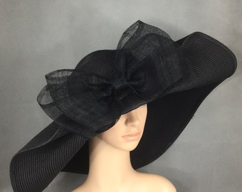 Black Kentucky Derby Hat with big Sinamay Bow,Derby Hat,Dress Hat Wedding Hat Wide Brim Hat Tea Party Hat Ascot