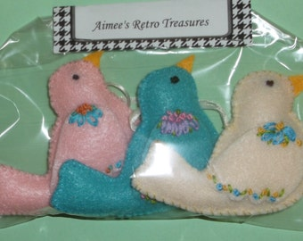 Hand Crafted Felt Embroidered Bird Ornaments - Pink Blue White