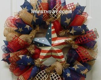 12% OFF RWB Rustic Wreaths, Patriotic Wreaths (2338)