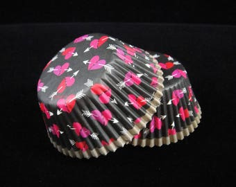 Black with Pink Hearts Cupcake Liners, Valentine's, Teen Party, Baking Cups, Muffin Papers, Cupcake Liners, Emoticon Cupcake Liners- Qty 25