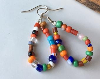 African Christmas Bead Hoop Earrings, Colorful Hoops, Red, Orange, Blue, Green, Yellow, Beaded Hoops, Etsy, Etsy Jewelry