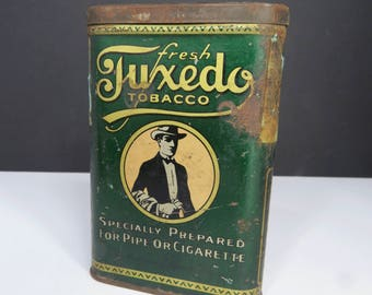 Antique Tuxedo Tobacco Tin, Man in Tuxedo Suit & Hat, 1930s Suave and Debonair Gentleman, Father's Day, Gift for Guy