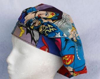 Surgical Cap, Wonder Woman, Chefs Hat, Adustable, Colorful, Washable