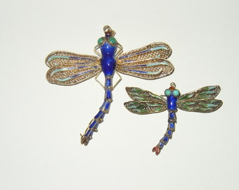 Two Vintage Sterling Chinese Enamel Dragonfly Pendants/Brooches