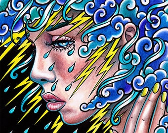Thinking of You Art Print - 5x7, 8x10, or 11x14 - Lowbrow Tattoo Portrait - Lightning and Storm Clouds With Rain Sad Girl