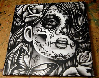 8x8 in Square Stretched Canvas Print - Epiphany - Black and White Day of the Dead Sugar Skull Girl Gothic Home Decor