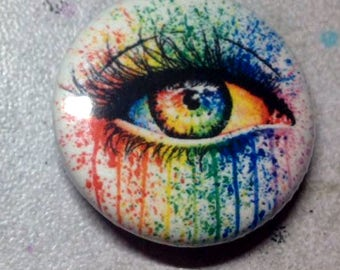 1 inch Pin Back Button - Eye Candy - Colorful Rainbow Pop Art Tattoo Flash Edgy Punk Pinback Button Accessory