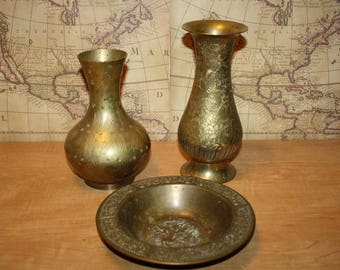 Brass Vases - Bowls - set of 3 - item #2470