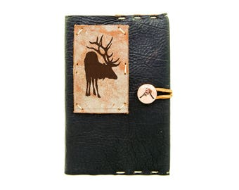 Small Leather Journal with Elk in Midnight Espresso