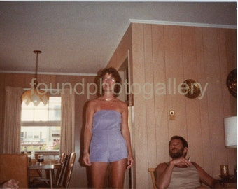 Vintage Photo, Woman in Blue Terrycloth JumpSuit, Bearded Man Smoking Cigarette, Found Photo, Snapshot, Vernacular, Old Photo, Wood Paneling